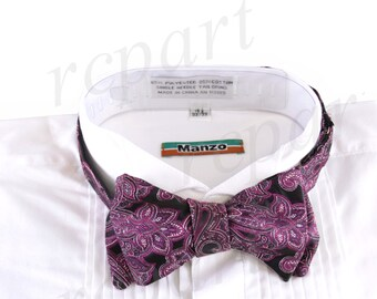 New Micro Fiber Men's Paisley Self-Tie Bow tie & hankie, Formal Occasions (569Q)