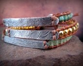 Turquoise Leather Bracelet - Cowgirl Southwestern Jewelry - Skinny, rustic boho chic by GlowCreek