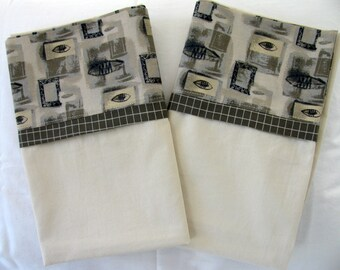 Pillowcases - Set of 2 - Standard Size - Ivory with Stylized Fish Motif Cuffs (P-105)