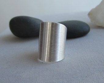 SALE 20% OFF/ Silver Tube Rings/Wide Sterling Band/ Wide SilverRings/ Brushed Silver Ring/ Artisan Silver Ring/ Statement Ring
