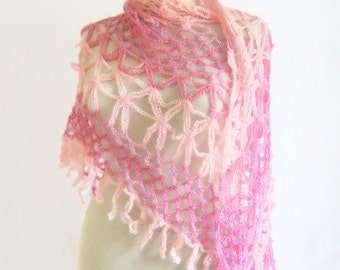 Mother's Day Gifts free shipping shawl White-Pink  Triangle Fashion,spring stole,shrug,necklace,wedding,bride,gift,handmade,pink