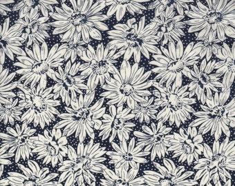 Vintage Liberty Tana Lawn fabric 'Ursinia' - 17" wide x 13" (43cm x 33cm) - black and ivory - 1990s