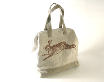 Linen Rabbit Tote, Slouchy, Knitting Bag, Mason Bag, Doctor Bag, IN STOCK