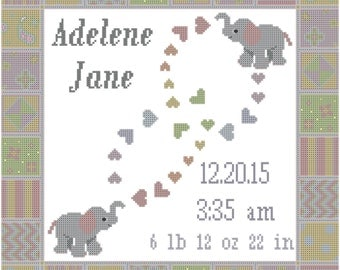 Modern Elephant Birth Record Cross Stitch Pattern in Pastels with Hearts