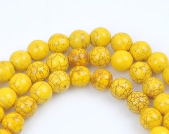 1 strand Synthetic Howlite Stone Beads ROUND Ball 8mm, LEMON YELLOW how0205