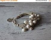 ON SALE Boho Bracelet / Pearl Bracelet / Linen Bracelet / Wedding Bracelet / Charm Bracelet