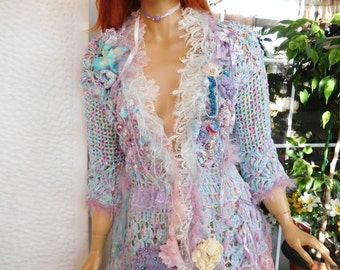 SOLD jacket handmade crochet  light blue lilac pink turquoise cardi boho gypsy wearable art gift idea for her by golden yarn