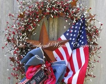 SUPER SALE Americana Wreath, Patriotic Wreath, Fourth of July, Memorial Day, Military, Primitive Patriotic, Summer Wreath, Flag Wreath