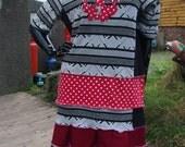 red black skull polka dot upcycled dress uk size 16 18 20