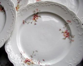 6 Antique Floral Luncheon Plates Karlsbad Austria Transferware China Vintage Formal Dinnerware