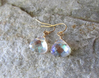 clear crystal earrings  Glass multi colored teardrop and gold wire wrapped drop dangle earrings bridesmaids earrings wholesale clearance