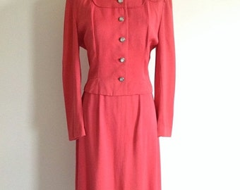 25% SALE 1940s Pink Gabardine Skirt Suit - Vintage Styled By Lampl Suit - Size Small