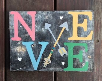 Name on reclaimed wood handpainted acrylic paint baby gift