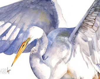 Great Egret watercolor painting print, A3 size, GE10914, Great egret print, shore bird print. contemporary coastal decor