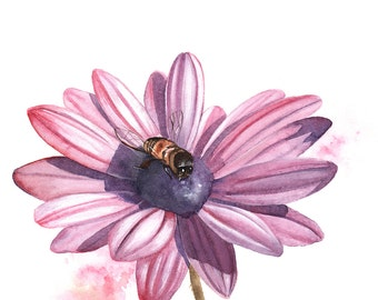 Daisy ORIGINAL Watercolor Painting, daisy watercolour painting, Original flower painting, Original watercolor painting flower