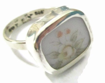 Broken China Ring, Sterling Silver, Yellow Pink Flower, Any Size, OOAK, China Shard, Pottery, Chaney, Floral Jewelry