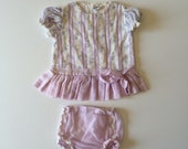 1960's Purple Floral Drop Waist Dress & Bloomers (9/12 months)