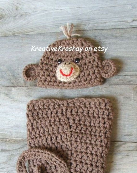 Sweet Lil' Monkey Snuggle Sack / Cocoon / Bunting with Matching Hat - (Newborn / 3-6month sizes)