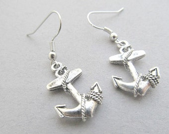 Anchor Dangle Earrings Detailed, Silver Anchor, hoop earrings