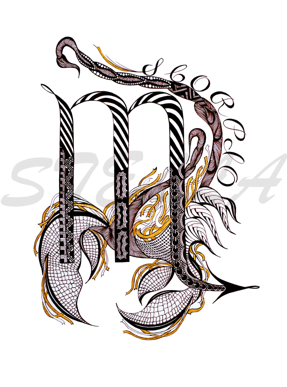 Zodiac Art Scorpio Print From Original Design And