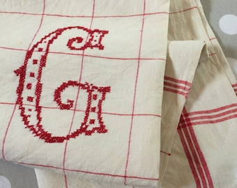 Linen dish towel, large C cross-stitched