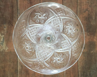 Vintage Cake Stand Art Deco Cut Clear Glass Pedestal Tall Cake Plate Wedding Bridal Serving Platter Cookie Appetizer Reception Party Star