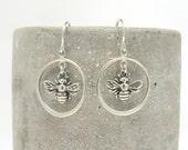 Silver Bee Dangle Earrings - Bee Charm Earrings - Honeybee Earrings - Bee Keeper Jewelry