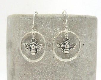 Silver Bee Dangle Earrings - Bee Charm Earrings - Honeybee Earrings - Bee Keeper Jewelry