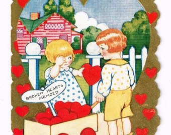 Vintage circa 1920s Valentine's Day Card, Broken Hearts Mended