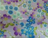 Japanese cherry blossoms and dew, light purple, gold metallic, 1/2 yard, pure cotton fabric