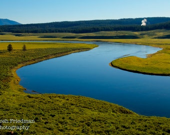 Hayden Vallen and Yellowstone River in Morning Light Yellowstone National Park Landscape Photograph Winding River Fine Art Photography Print
