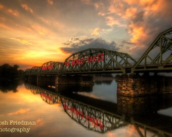 Trenton Makes Bridge at Sunset Fine Art Photograph Instant Digital Download Reflection Delaware River New Jersey Pennsylvania Lower Trenton