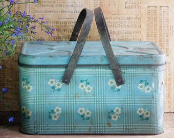 Vintage Metal Blue Picnic Basket with Wood Handles, Farmhouse, Lake Cottage Decor