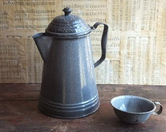 Vintage Gray Graniteware Coffee Pot and Cup