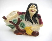 Vintage 1970s Earth Mother Planter, Mountain Girl, Free Spirit, Long Hair Hippie Pottery, Figural Planter - Kitsch Made in Japan