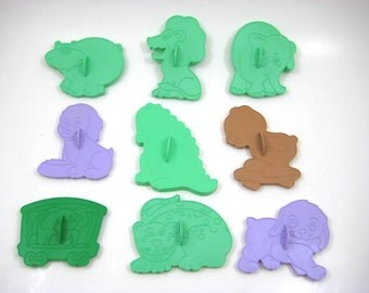 Vintage 1990 Wilton Animal Cookie Cutters - Lot of 9 Plastic Animal Cookie Cutters - Puppies, Dinosaur, Circus Elephant, Lion, Spotted Cat