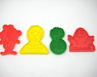 Vintage 1980s McDonalds Cookie Cutters - Lot of 4 Fast Food Advertising Collectibles; 2 Ronald McDonalds, Grimace & Fry Guy