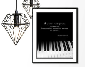 LEOPOLD STOKOWSKI Music Quote, Musician, Music Piano Teacher, Pianist, Black and White, Piano Keyboard Wall Art Print
