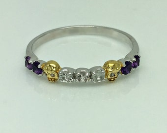 Gemstone skull ring, amethyst gemstones, white sapphire gemstones, unique wedding ring, eternity gemstone stack ring, size 5.75