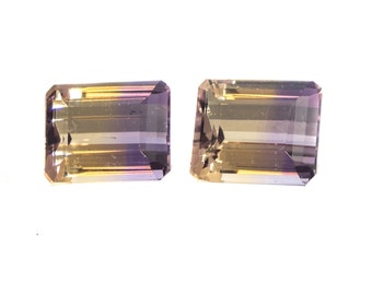 Ametrine Emerald Cut 12 x 10 mm Matched Pair Faceted Stones