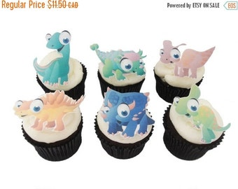 SALE Cake Cupcake Toppers 12 EDIBLE DINOSAUR  - Cupcake Toppers - Theme Birthday Party Decorations Cake Boys