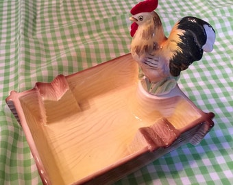 "Cock of the walk-Killer 1950s ""Tilford"" Ceramic Ashtray with Detachable Rooster"