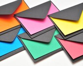 Black Envelopes with Colorful Cards, Mini Card Set, Set of 10, Love Note, Blank Cards, Gift Cards, Business Card Envelopes, Scrapbooking