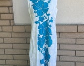 ON SALE 60s 70s Turquoise & White Hawaiian Dress by Hawaiian Palm Size L-Xl