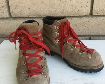 ON SALE Vintage Suede Hiking Boots . Mountaineering Boots w/Vibram Soles Womens Size 8