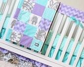 Purple And Aqua Crib Bedding - Purple Chevron, Grey and Aqua dot Baby Girl Crib Bedding
