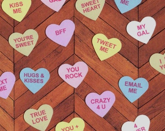 Scrapbooking / Cards - 1 in Die Cut Conversation Hearts - Valentines Hearts 42 pcs