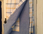 "58""x84"" Reversible Sunny Open Plaid Cotton Tablecloth in Blue and Yellow. Picnic Table Chic."