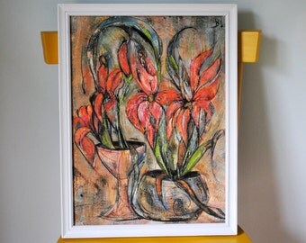 Modern Lily Painting - Framed Art