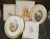 Set of 5 Vintage Florentine Gold Gilt Wood Made in Italy Wall Plaque Pictures